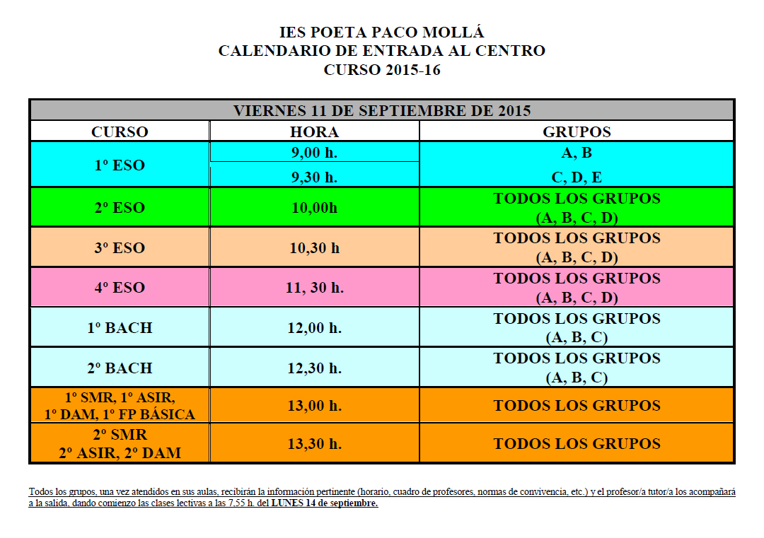 Photo of Calendario de entrada al centro y listados de alumnos/as
