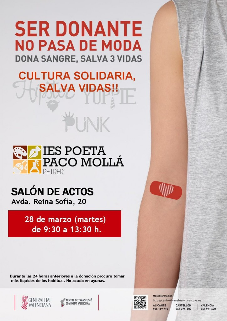 Photo of DONACIÓN DE SANGRE EN EL CENTRO EL MARTES DÍA 28 DE MARZO DE 2017