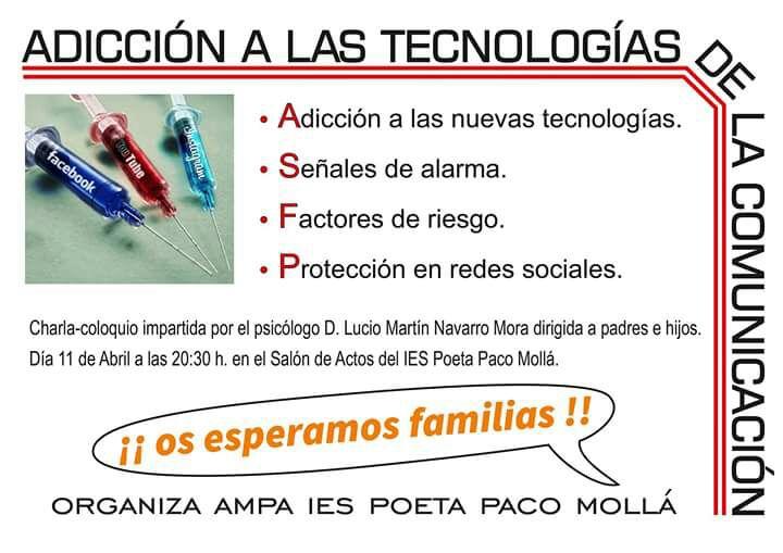 Photo of Charla organizada por el AMPA de adicción a las Nuevas Tecnologías