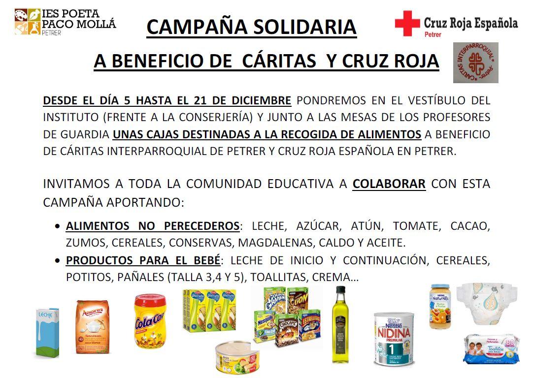 Photo of CAMPAÑA SOLIDARIA A BENEFICIO DE  CÁRITAS  Y CRUZ ROJA