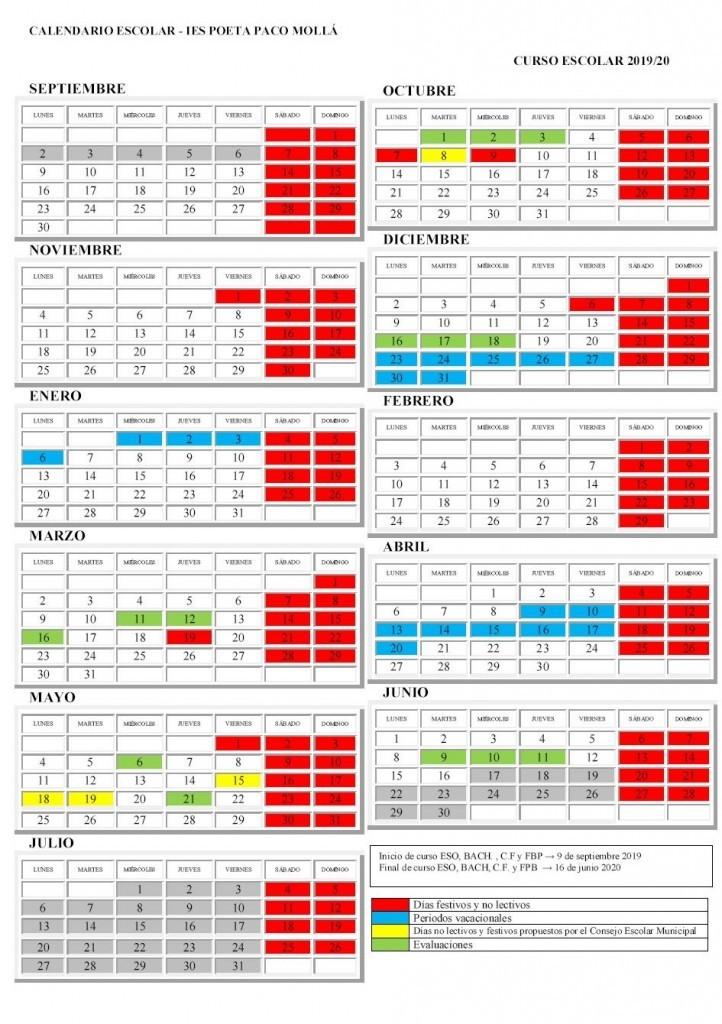 calendario 2019-20